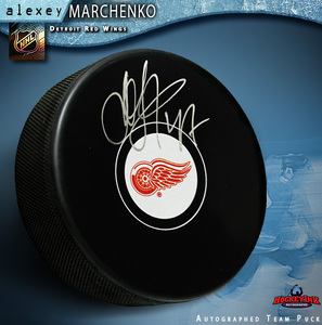 ALEXEY MARCHENKO Signed Detroit Red Wings Puck