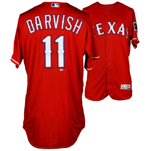 Photo of Yu Darvish Texas Rangers Game-Used Red #11 Jersey vs Houston Astros on June 8, 2016