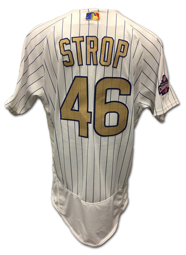 Photo of Pedro Strop Ring Ceremony Game-Used Gold Jersey -- Dodgers vs. Cubs -- 4/12/17