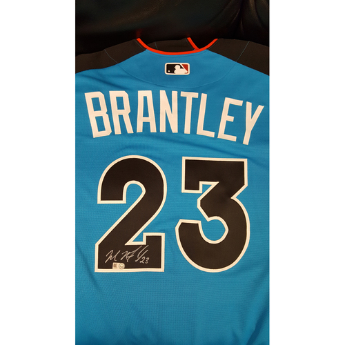 Photo of Michael Brantley 2017 Major League Baseball Workout Day/Home Run Derby Autographed Jersey