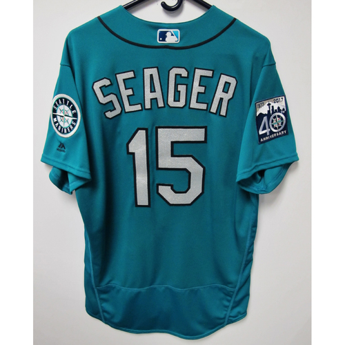 Photo of Kyle Seager Green 40th Anniversary Game-Used Jersey, 7-7-2017 (Size 46)