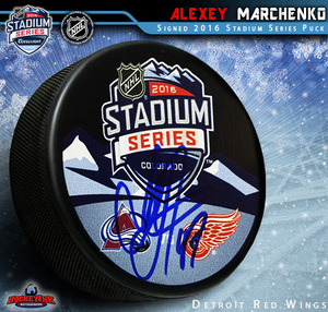ALEXEY MARCHENKO Signed 2016 Stadium Series Souvenir Puck - Detroit Red Wings