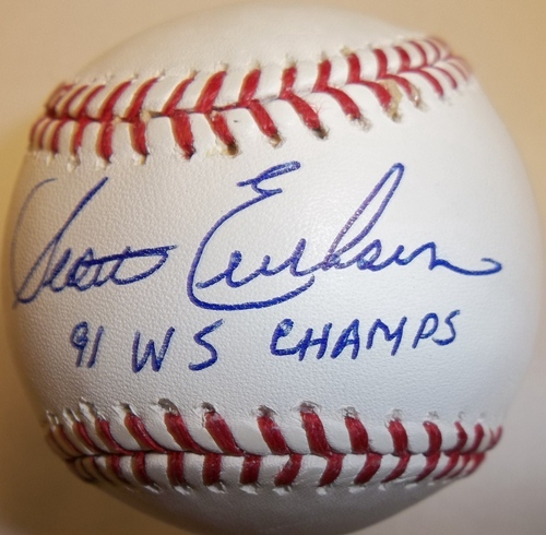 "Photo of Scott Erickson Autographed ""91 WS Champs"" Baseball"