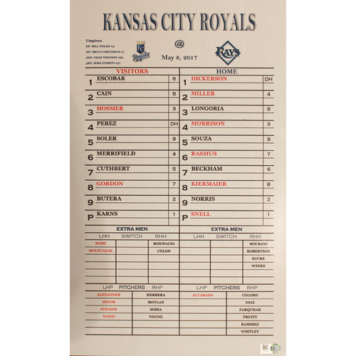 Photo of Coaches Line Up Card: May 8, 2017 (KC at TB) (Win 7-3)