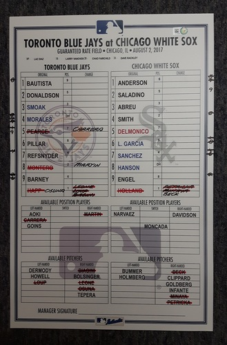 Photo of Authenticated Game Used Lineup Card - August 2nd, 2017 vs Chicago White Sox: Donaldson's 3rd Straight Game with a Home Run