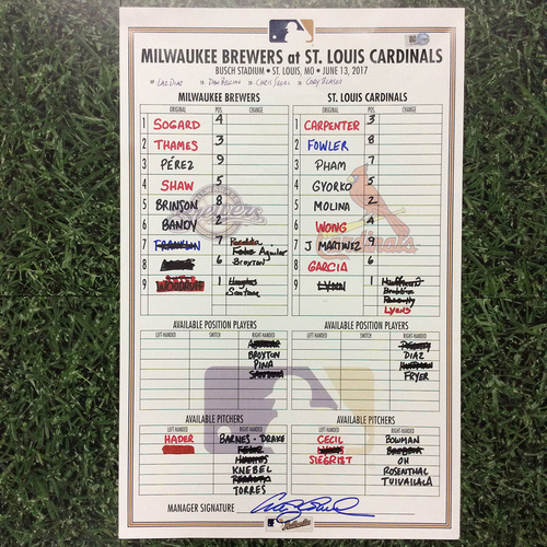 Photo of MIL @ STL 06/13/17 Lineup Card - Win 6-0: Jose Martinez 2 HR - 1st Career Multi-HR Game (Game 1 of Doubleheader)