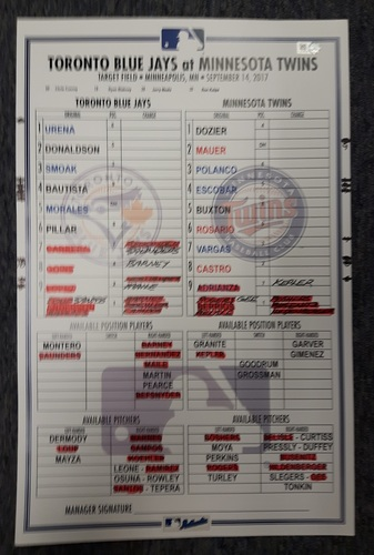 Photo of Authenticated Game Used Line Up Card - September 14, 2017 vs MIN: Walk-Off Home Run by Byron Buxton. 11 inches by 17 inches.