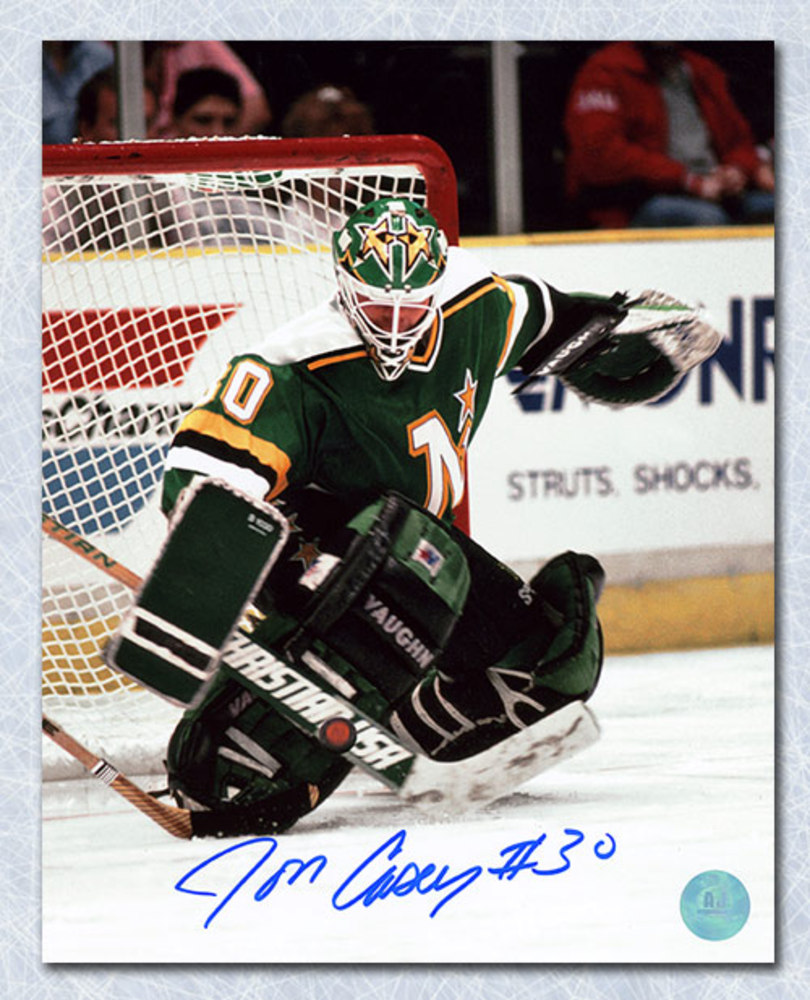 Jon Casey Minnesota North Stars Autographed Star Mask 8x10 Photo