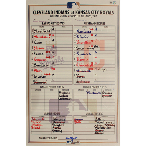 Photo of Game-Used Line Up Card: May 5, 2017 (CLE at KC) (Win 3-1)