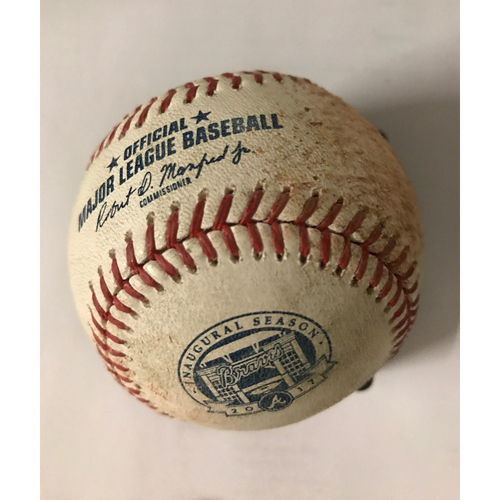 Photo of Chase Utley Game-Used Hit Single Baseball - August 1, 2017