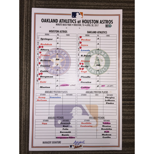Photo of Astros vs Athletics, 4/28/17 - Game-Used Lineup Card