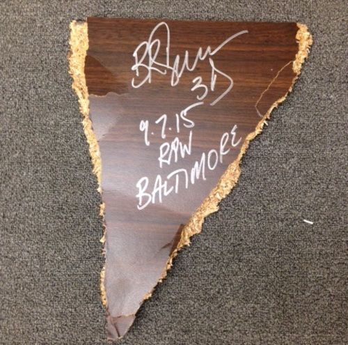 Photo of Bubba Ray Dudley SIGNED Piece of table (RAW - 09/07/15)