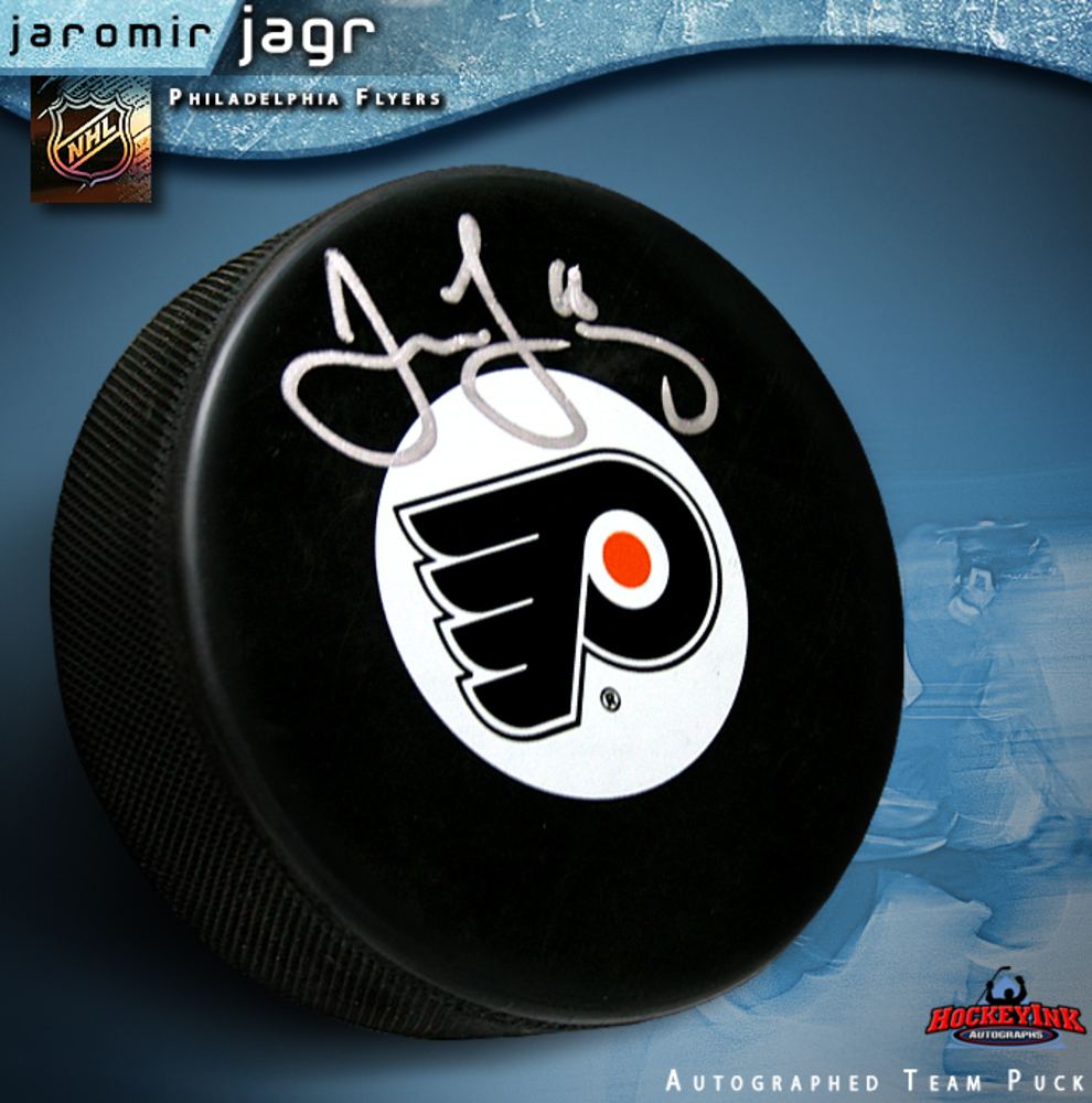 JAROMIR JAGR Signed Philadelphia Flyers Team Logo Puck