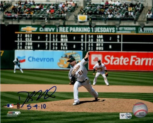 "Photo of Dallas Braden ""5.9.10"" Perfect Game w/ Scoreboard Autographed 8x10"
