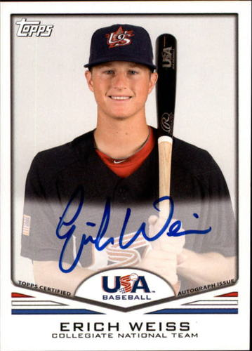 Photo of 2011 USA Baseball Autographs #A22 Erich Weiss RC AUTO