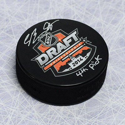 Sam Bennett 2014 NHL Draft Day Puck Autographed w/ 4th Pick Inscription *Kingston Frontenacs*