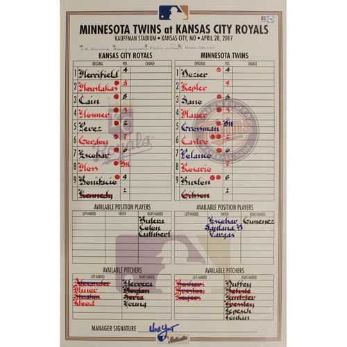 Photo of Game-Used Line Up Card: April 28, 2017 (MIN at KC)