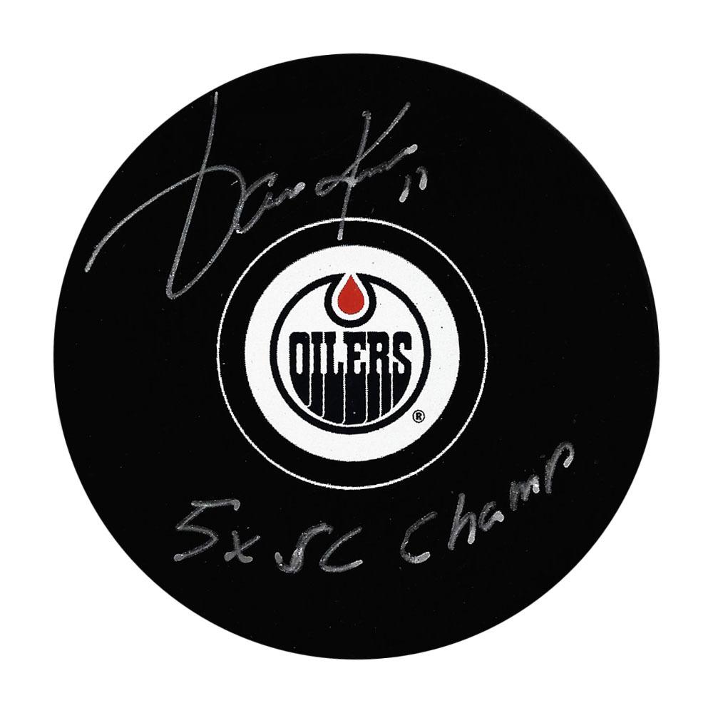 Jari Kurri Autographed Edmonton Oilers Puck w/5 Cups Inscription