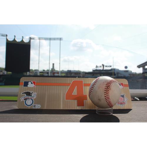 Photo of Game-Used Baseball: George Springer Single and Locker Name Plate (6/6/17 HOU @ KC)