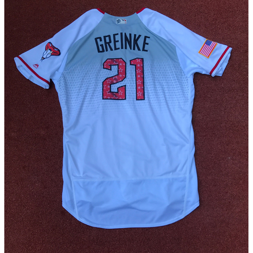 Photo of 2017 All-Star Auction: Zack Greinke 2017 Stars & Stripes Game-Used Home Jersey