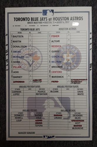 Photo of Authenticated Game Used Lineup Card - August 6th, 2017 vs Houston Astros: Aoki 1st HR as a Blue Jays and Astros Walk-Off Win