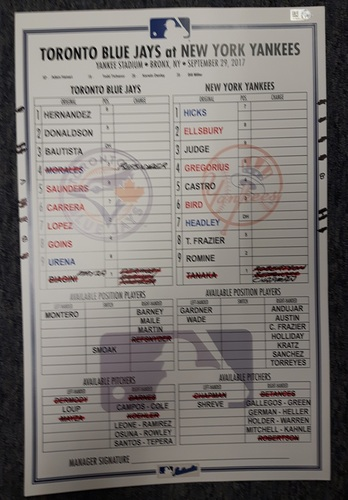 Photo of Authenticated Game Used Line Up Card - September 29, 2017 vs NYY: 15 Strikeout Game by Masahiro Tanaka. 11 inches by 17 inches.