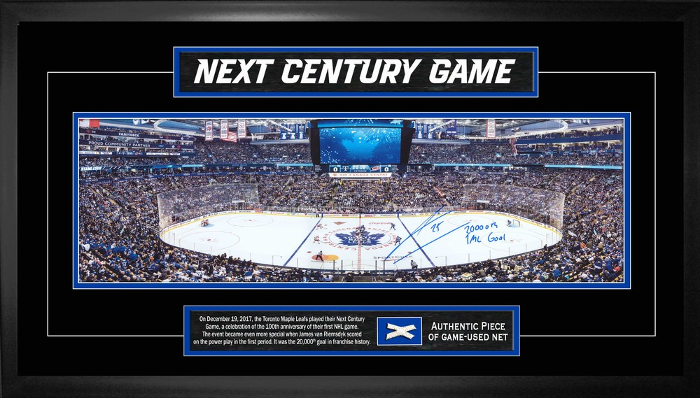 James Van Riemsdyk - Signed Framed Panorama Maple Leafs  Insc. 20,000th TML Goal wPc of Net