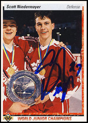 1990-91 UD SCOTT NIEDERMAYER SIGNED Rookie Card