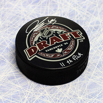 Jonathan Bernier 2006 NHL Draft Day Autographed Puck with 11th Pick Inscription *Lewiston MAINEiacs*