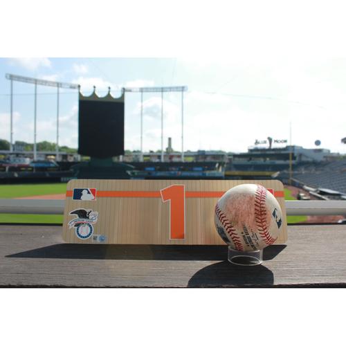 Photo of Game-Used Baseball: Carlos Correa Triple and Locker Name Plate (6/8/17 HOU @ KC)