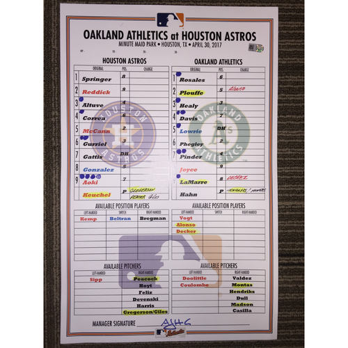 Photo of Astros vs Athletics, 4/30/17 - Game-Used Lineup Card