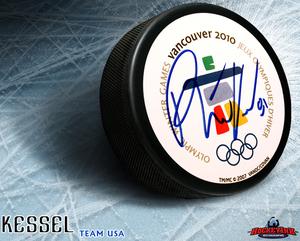 PHIL KESSEL Signed 2010 Olympics Puck - Toronto Maple Leafs
