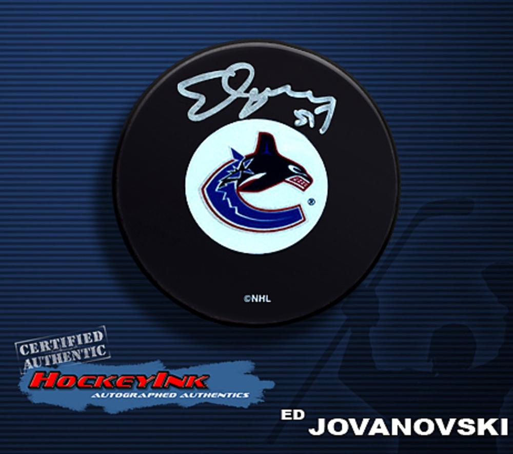 ED JOVANOVSKI Signed Vancouver Canucks Puck