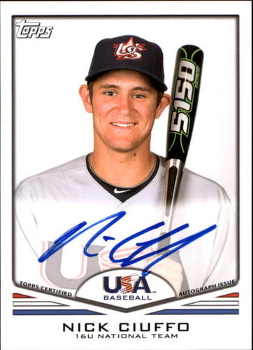 Photo of 2011 USA Baseball Autographs #A26 Nick Ciuffo RC AUTO