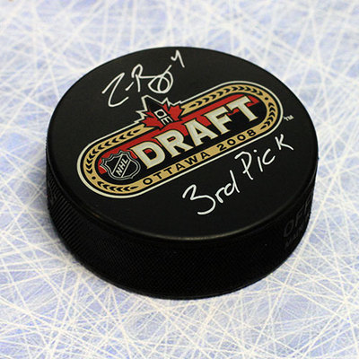 Zach Bogosian 2008 NHL Draft Day Autographed Puck with 3rd Pick Inscription *Peterborough Petes*
