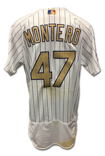 Photo of Miguel Montero Ring Ceremony Game-Used Gold Jersey -- Dodgers vs. Cubs -- 4/12/17