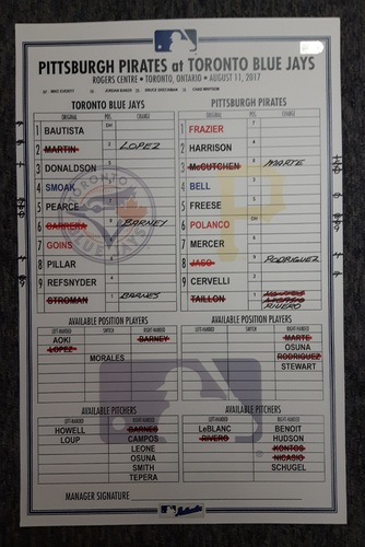 Photo of Authenticated Game Used Lineup Card - August 11th, 2017 vs Pittsburgh Pirates: Bautista's 20th HR of the Season. 8th Straight Season with 20 or more HRs