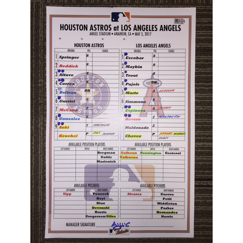 Photo of Astros at Angels, 5/5/17 - Game-Used Lineup Card