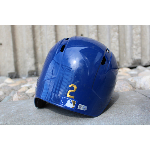 Photo of Game-Used Gold Helmet: Alcides Escobar (Size 7 1/4 - ARI at KC - 9/29/17)