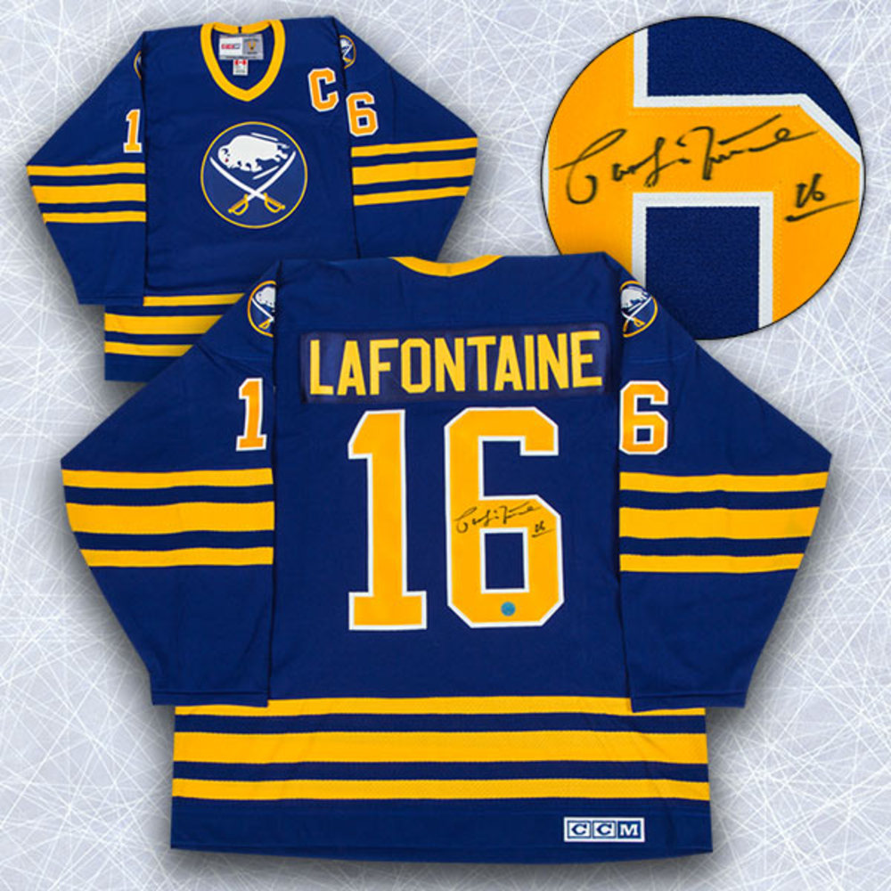 Pat LaFontaine Buffalo Sabres Autographed Blue Retro CCM Hockey Jersey