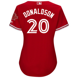 Toronto Blue Jays Women's Cool Base Replica Josh Donaldson Alternate Red Jersey by Majestic