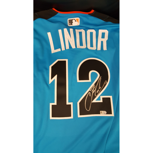 Photo of Francisco Lindor 2017 Major League Baseball Workout Day/Home Run Derby Autographed Jersey