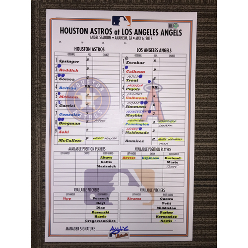 Photo of Astros at Angels, 5/6/17 - Game-Used Lineup Card