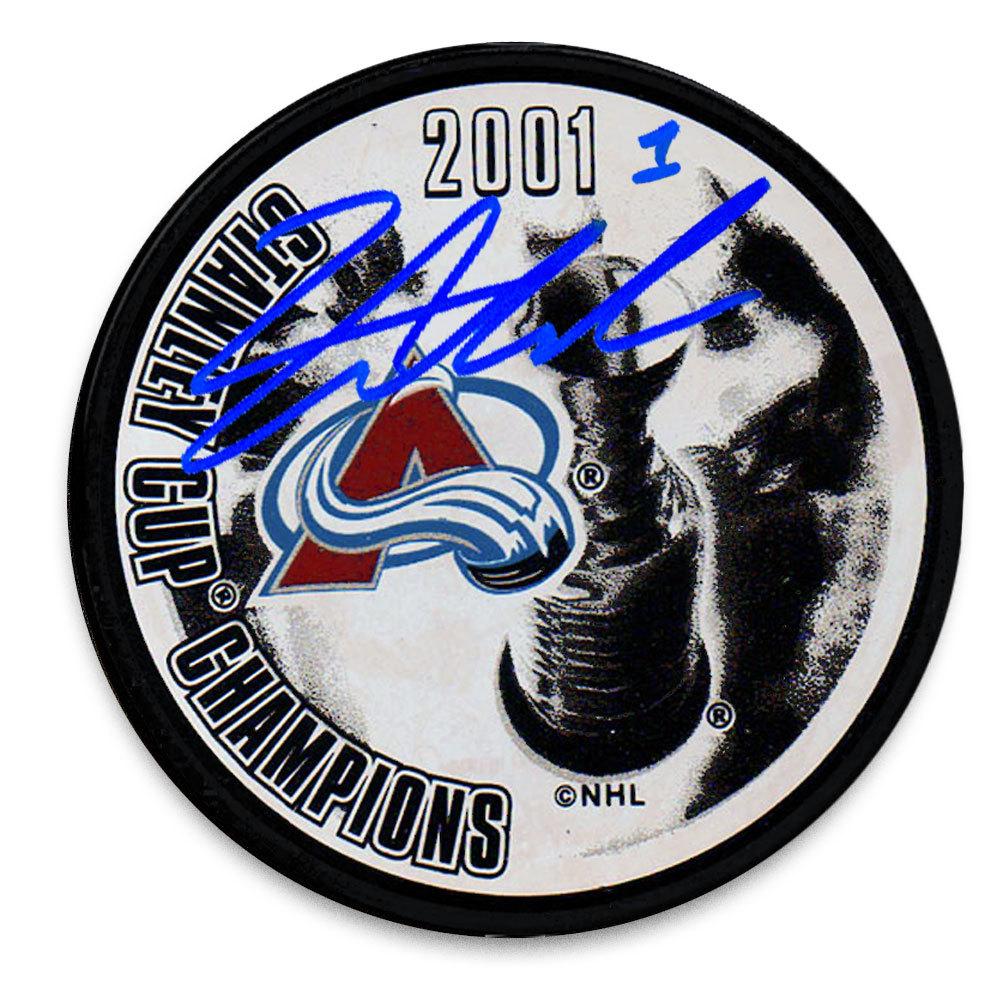 David Aebischer Colorado Avalanche 2001 Stanley Cup Champions Autographed Puck