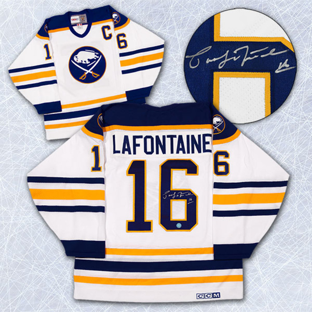 Pat LaFontaine Buffalo Sabres Autographed White Retro CCM Hockey Jersey