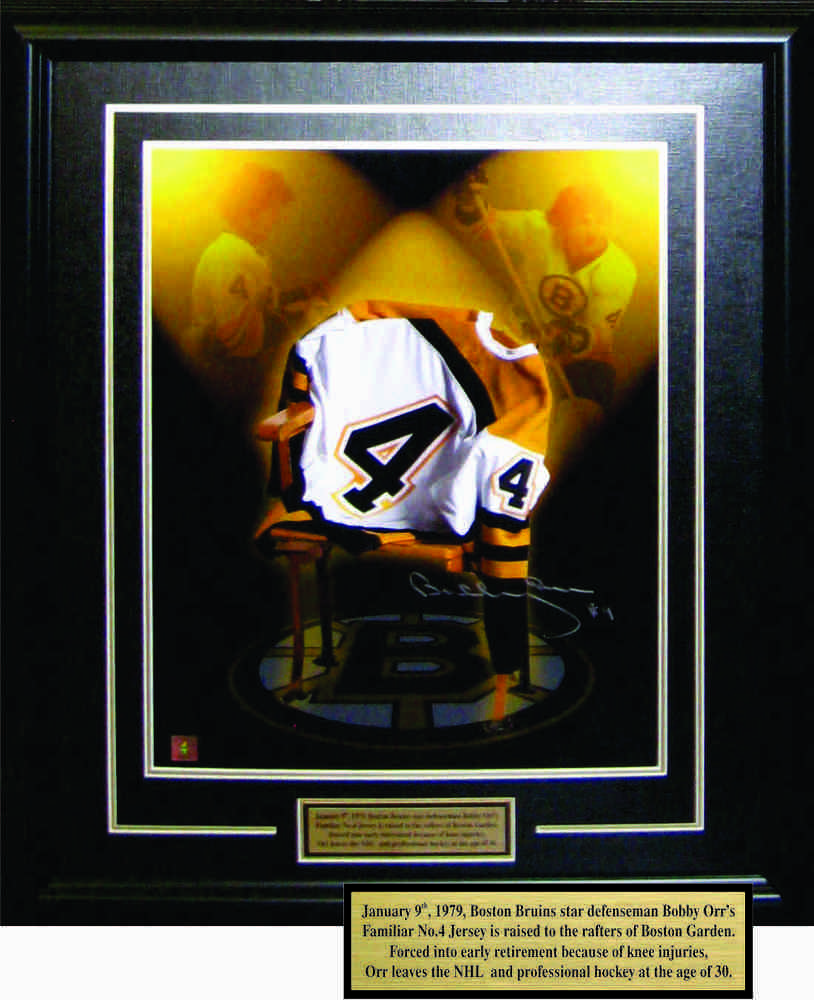 Bobby Orr - Framed Jersey on Chair 16x20
