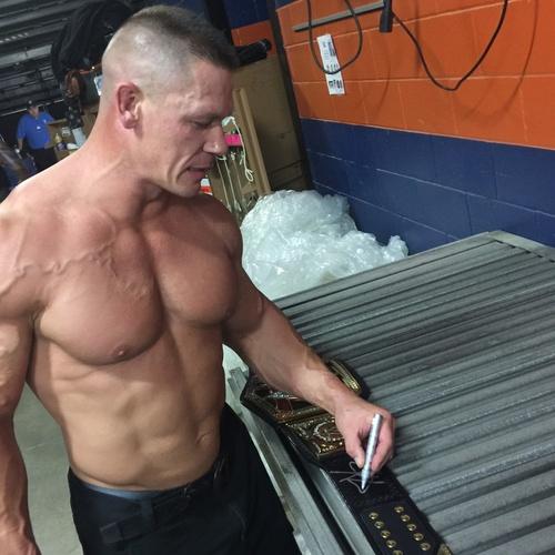 Photo of John Cena SIGNED WWE Championship Replica Title (Royal Rumble - 01/29/17)