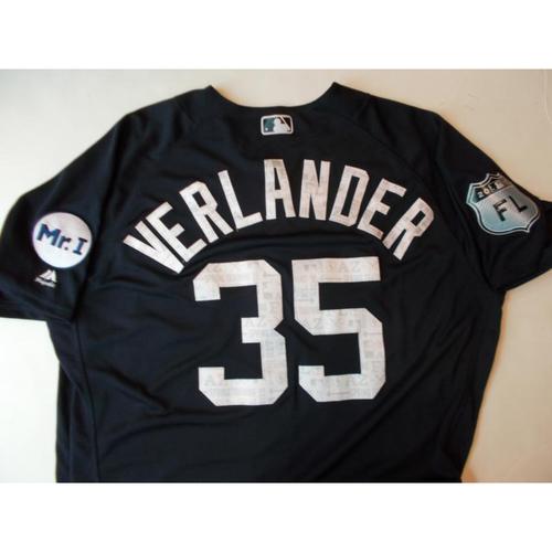 Photo of Game-Used Justin Verlander Home Spring Training Jerseys