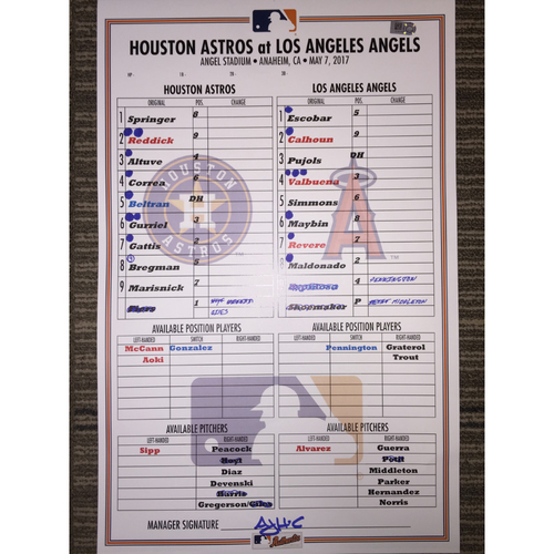 Photo of Astros at Angels, 5/7/17 - Game-Used Lineup Card
