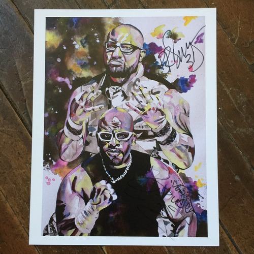 "Photo of The Dudley Boyz SIGNED 11"" x 14"" Rob Schamberger Print"
